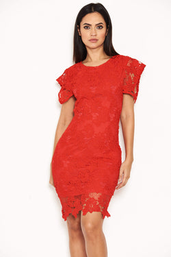 Red Crochet Detail Midi Dress