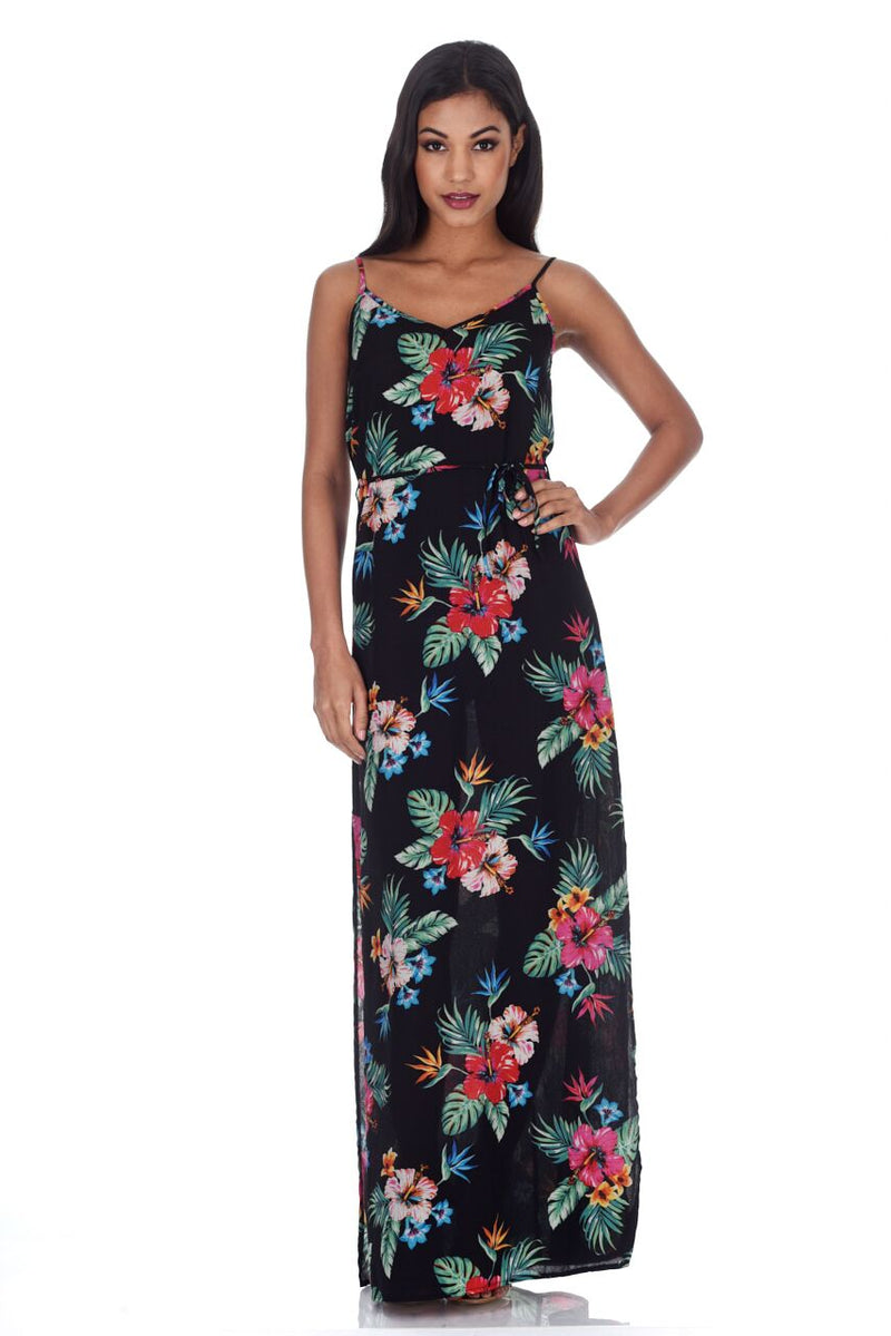 Black Floral Spaghetti Strap Maxi Dress
