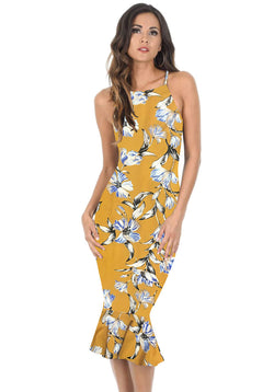 Yellow Floral Bodycon Midi Dress With Frill Hem