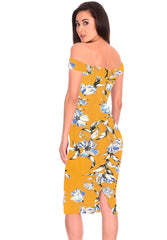 Yellow Floral Bardot Bodycon Dress