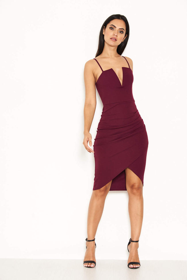 Plum Notch Front Wrap Dress
