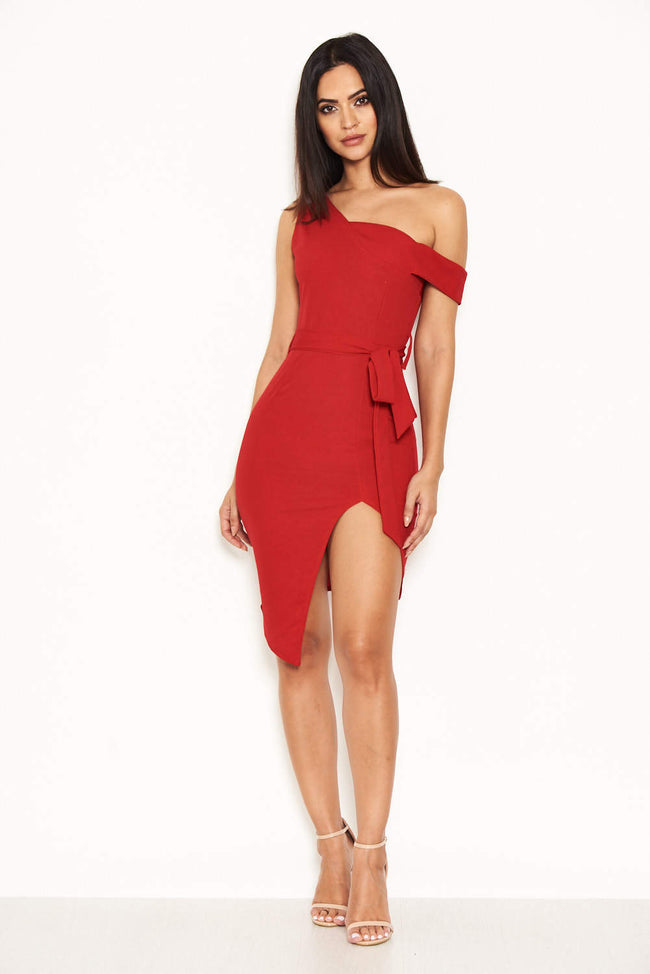 Red One Shoulder Asymmetric Dress