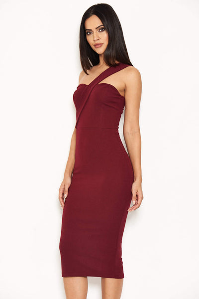Plum One Shoulder Strap Midi Dress