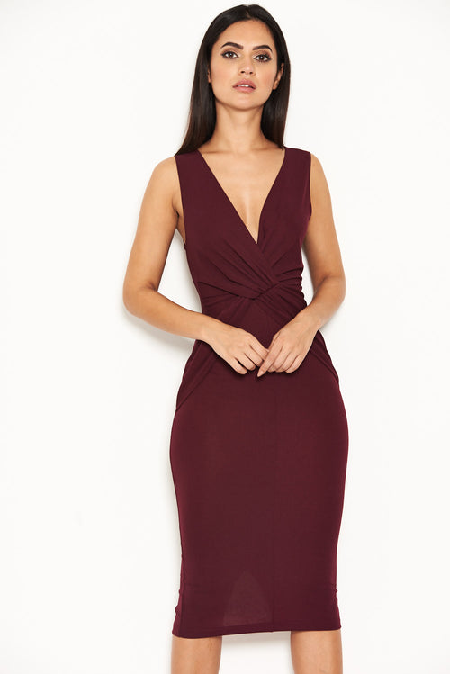 Plum Plunge Midi Dress With Twist Front
