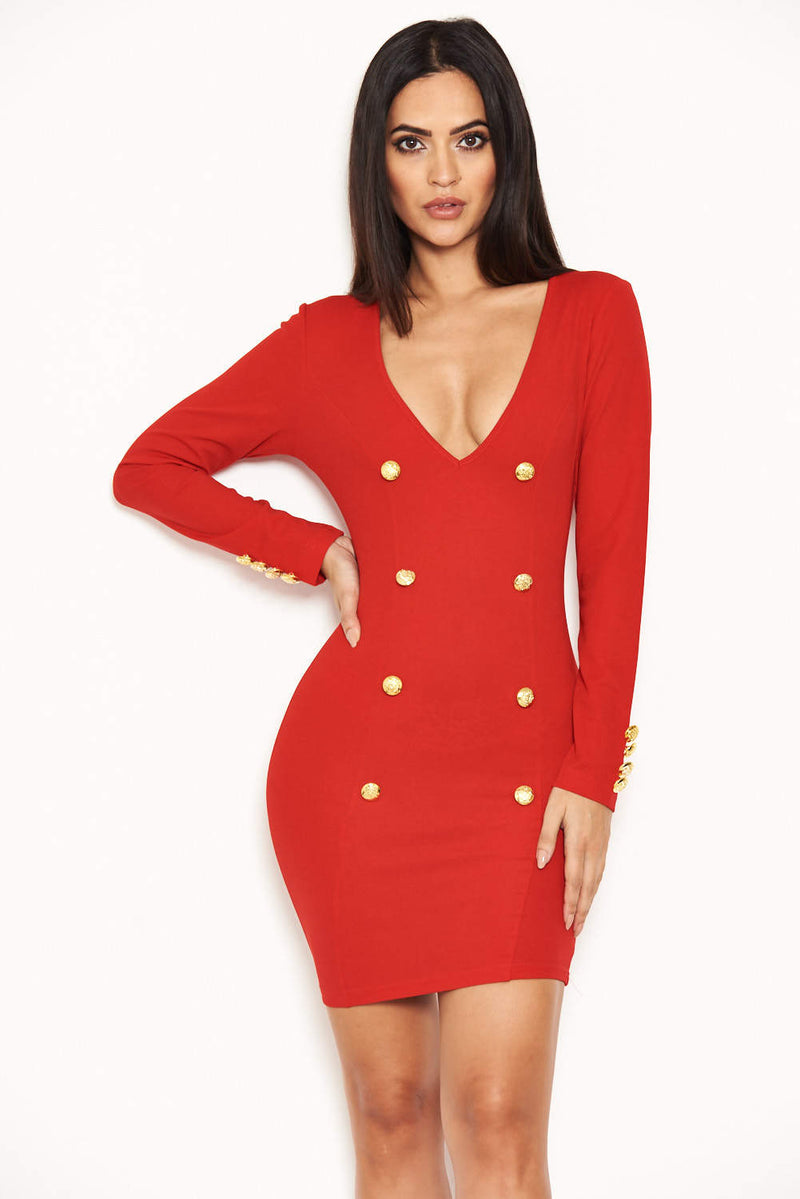 Red Bodycon Button Front Dress