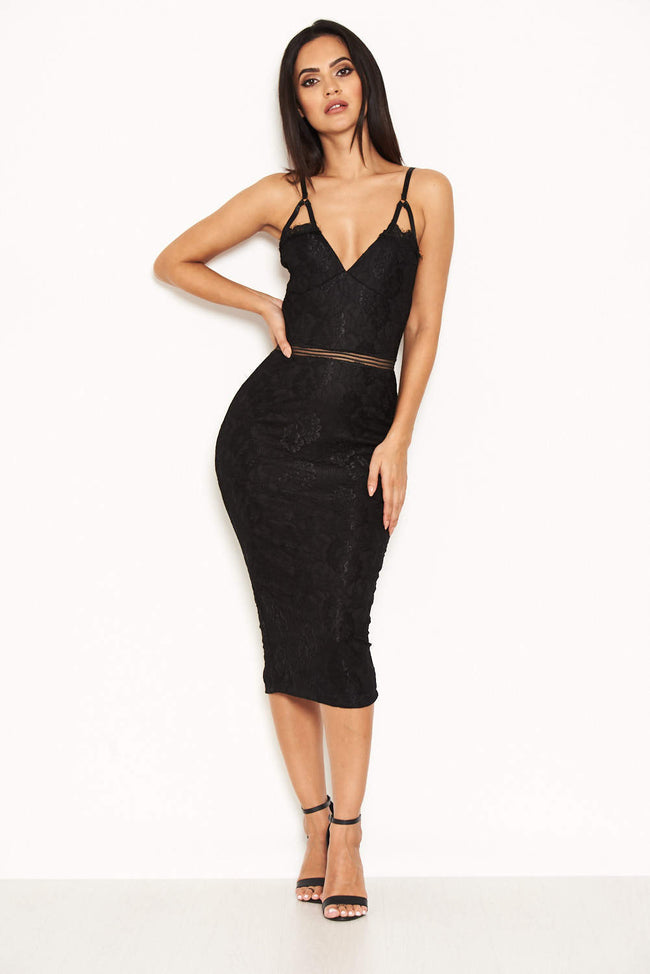 Black Lace Dress With Mesh Detail Waist