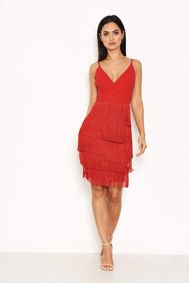 Red Tassel Front Wrap Dress