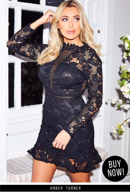 Black Lace Dress With Frill Hem And Cut Out Back Ax Paris