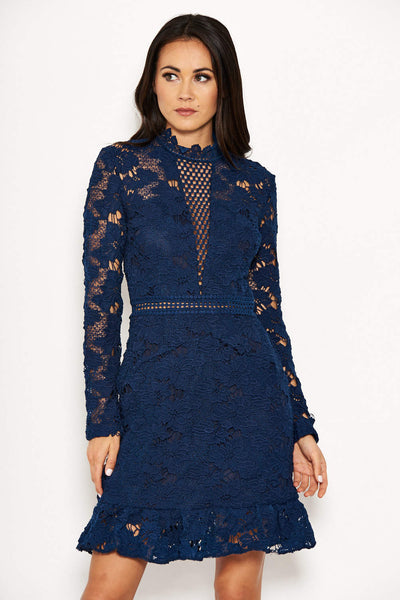 Navy Lace Dress With Frill Hem And Cut Out Back