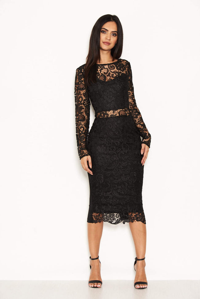 Black Lace Front Midi Dress