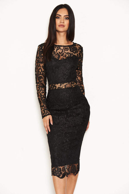 Black Floral Mesh Sleeve Bodycon Dress