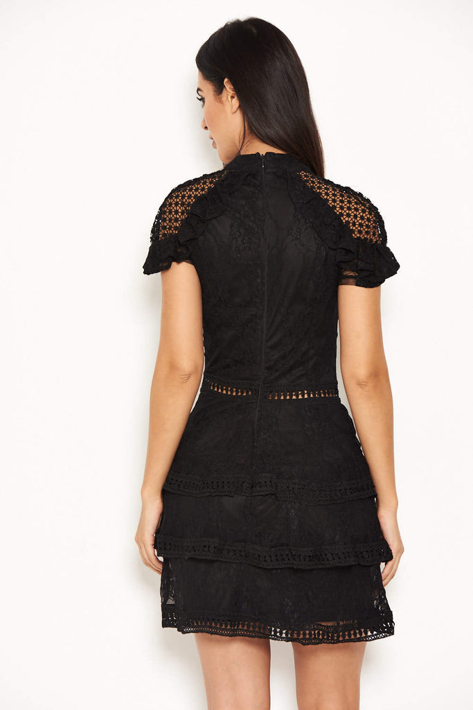 Black High Neck Lace Layer Frill Mini Dress