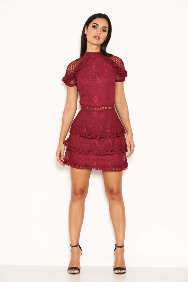Plum High Neck Lace Layer Frill Mini Dress