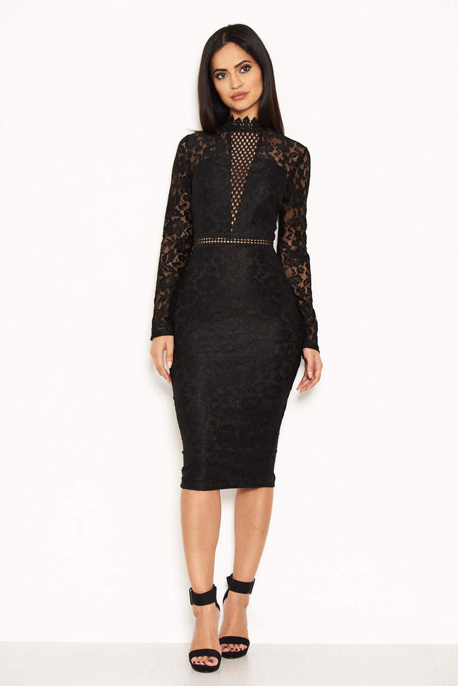 Black High Neck Lace Dress With Frill Hem