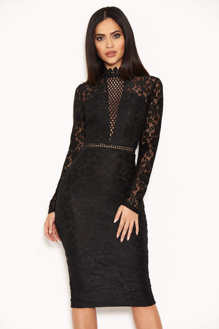 Black Lace Notch Front Dress