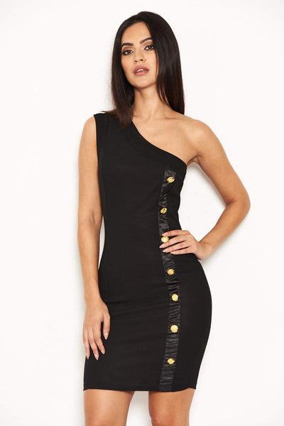 Black One Shoulder Bodycon Mini Dress