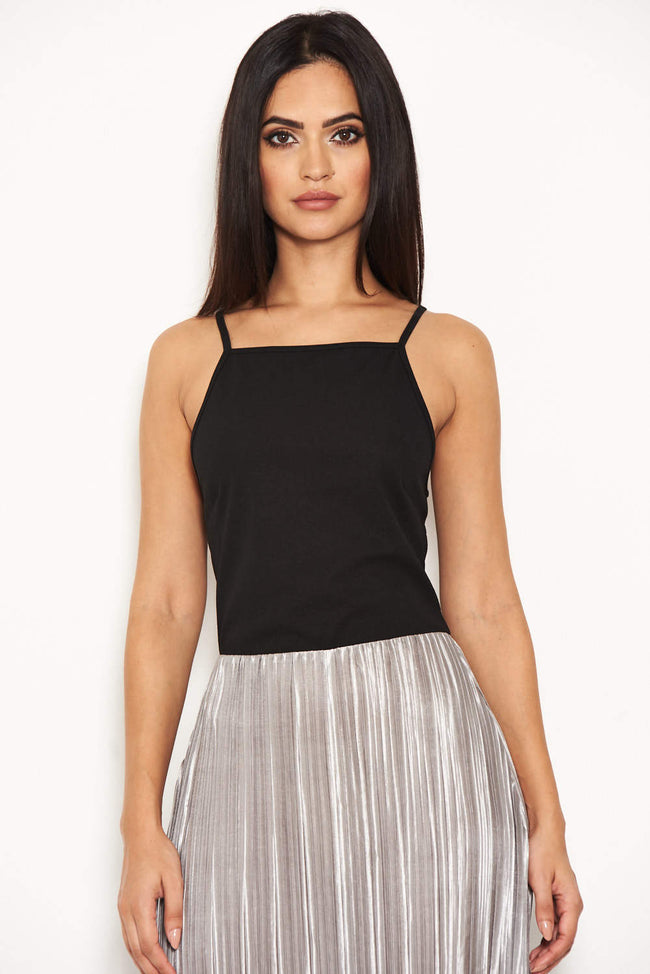 Black High Neck Dress With Silver Skirt