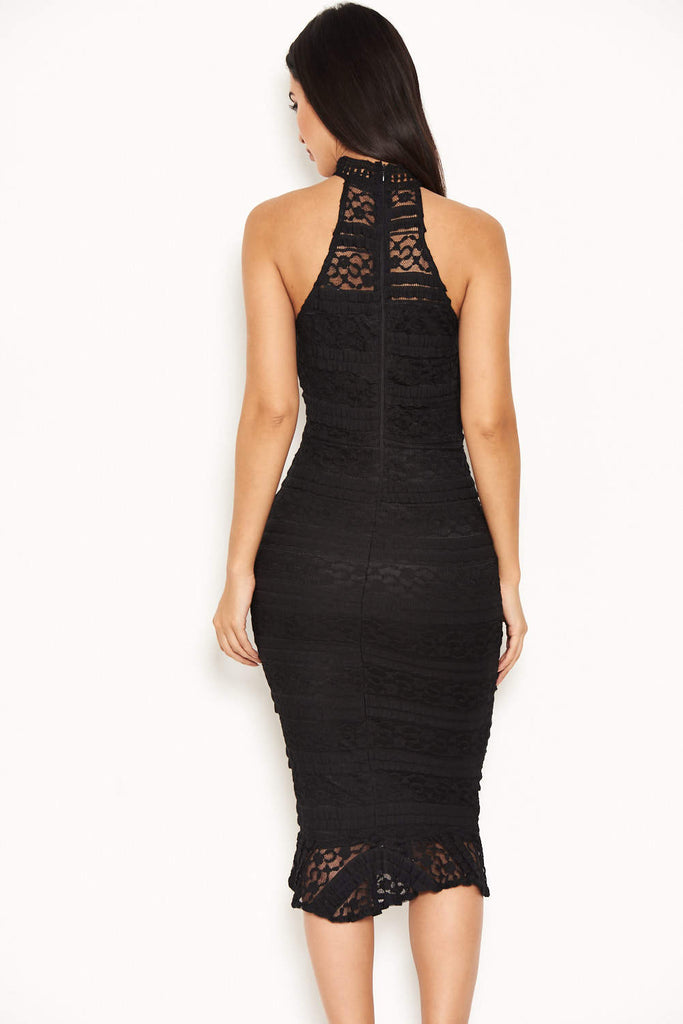 Black Lace Halterneck Dress With Frill Hem
