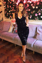 Black Sequin Velvet Midi Dress