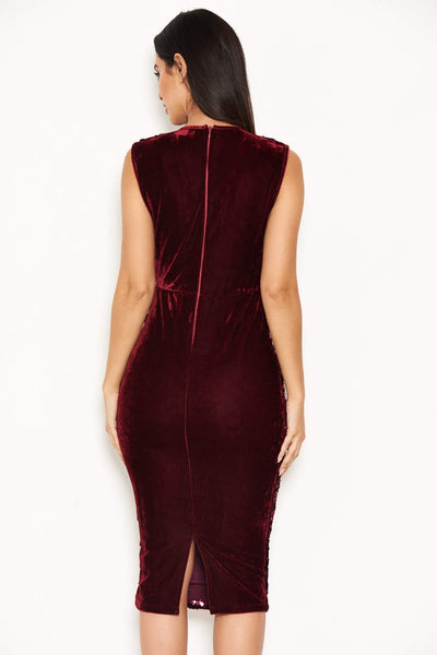 Plum Sequin Velvet Midi Dress