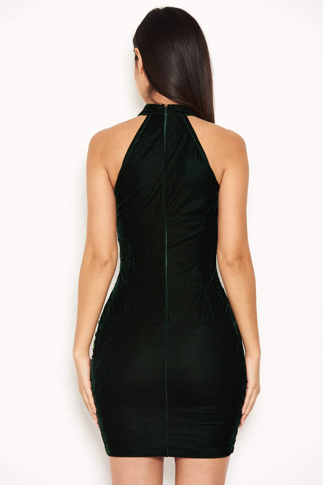 Green Sequin Velvet High Neck Dress