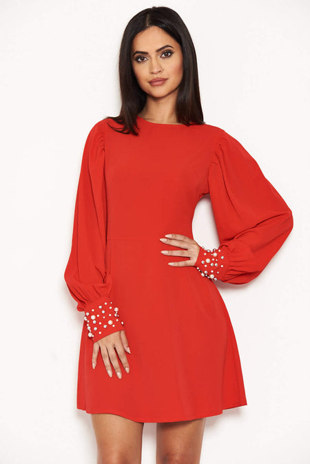 Red Disty Floral Day Dress