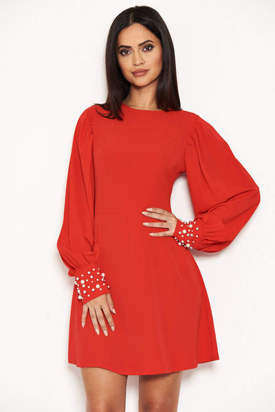Red Pearl Detailed Mini Dress