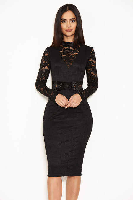 Black Velvet High Neck Dress With Sequin Front