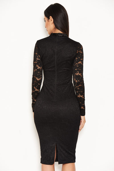 Black Lace Velvet Waist Midi Dress