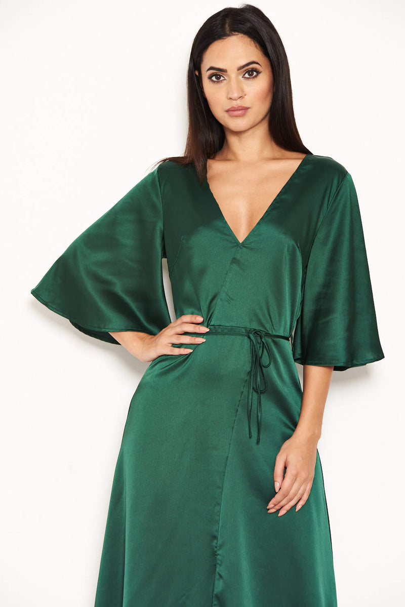 Green Midi Dress With Ruffle Sleeves And Tie Waist