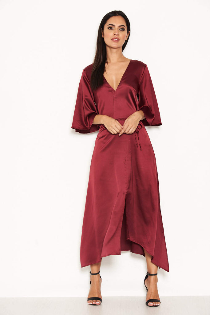 Plum Midi Dress With Ruffle Sleeves And Tie Waist