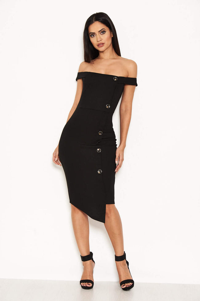 Black Button Front Bardot Dress