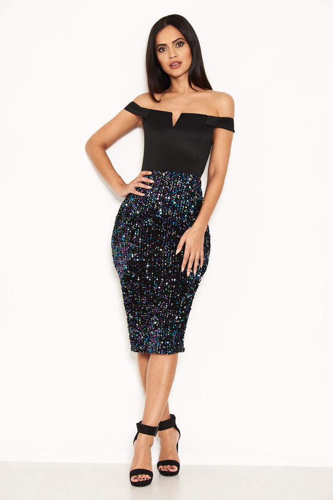 Black Bardot Midi Dress With Sequin Skirt