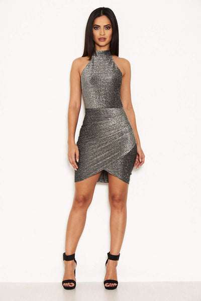 Grey Metallic Bodycon Dress With Halterneck