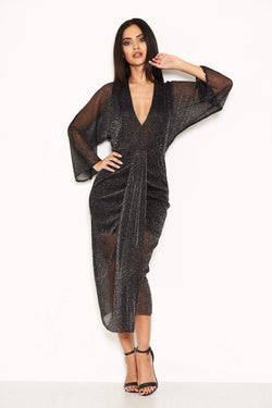 Black Sparkle Wrap Dress With Plunge Neck