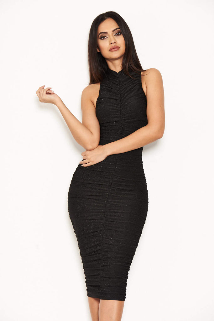 Black Ruched Midi Dress With High Neck