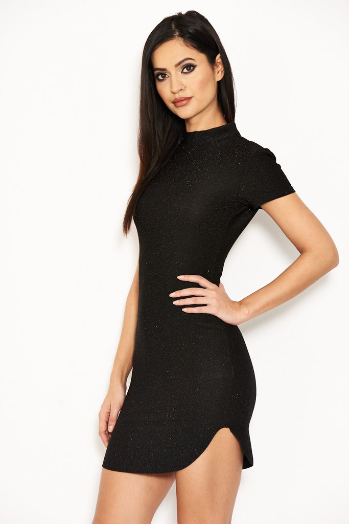 Black Glitter Mini Dress
