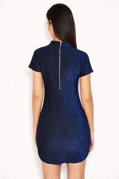Blue Glitter Mini Dress