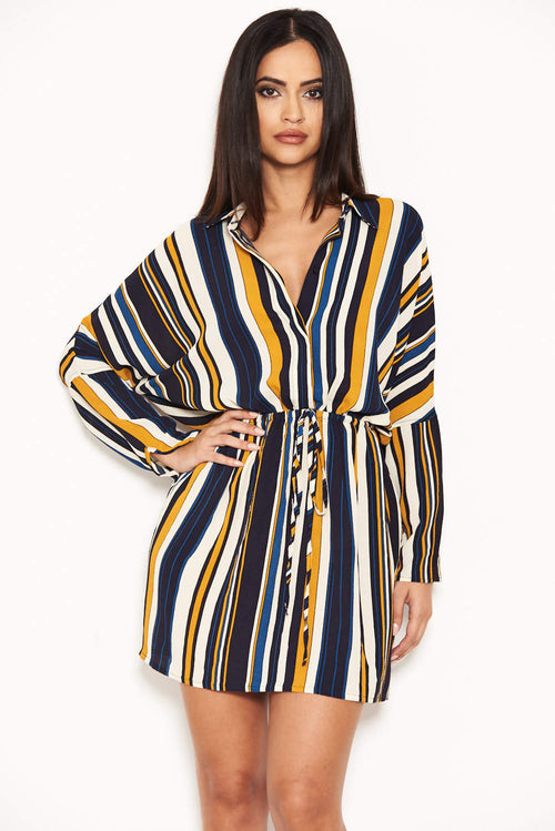 Navy Stripe Waist Tie Shirt Dress