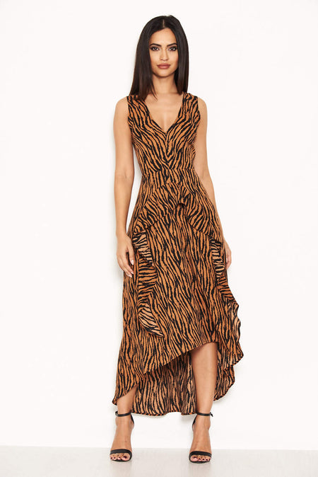 Zebra Print Wrap Maxi Dress