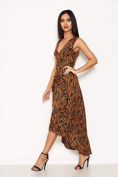 Camel Animal Print Maxi Dress