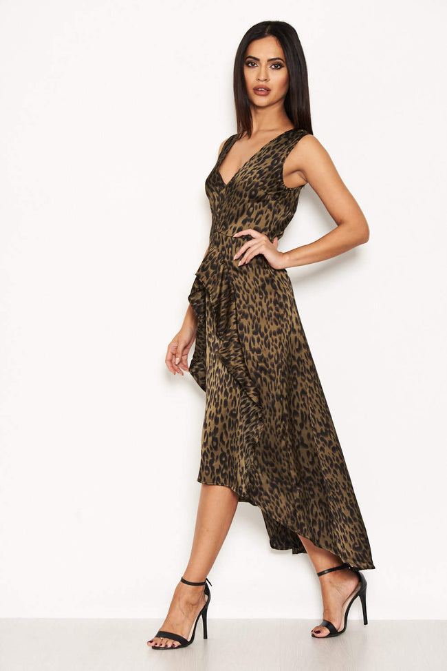 Khaki Animal Print Midi Dress