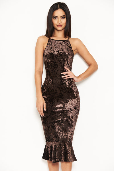 Chocolate Velvet Fishtail Dress