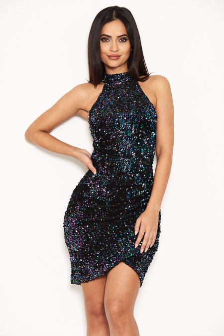 Black Slash Neck Glitter Ruched Dress