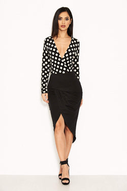 Black Polka Dot Contrast Wrap Dress