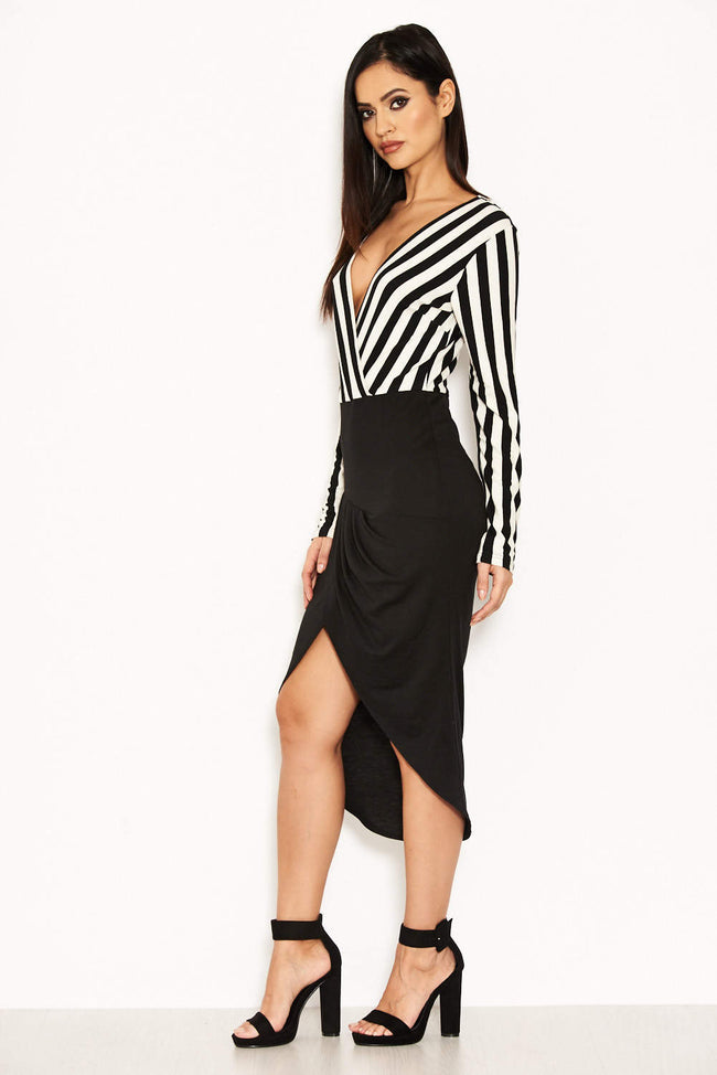 Striped Wrap Front Bodycon Dress