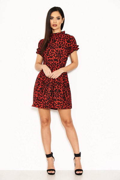 Red Leopard Day Dress