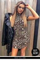 Leopard Print Curve Hem Dress