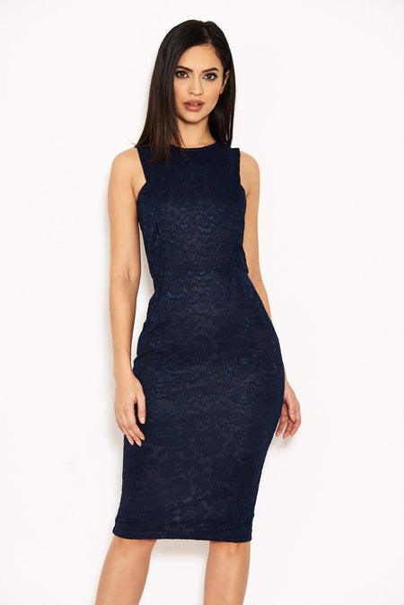 Navy Notch Front Lace Detail Midi Dress