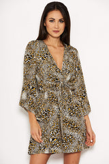 Animal Print Asymmetrical Sleeve Dress